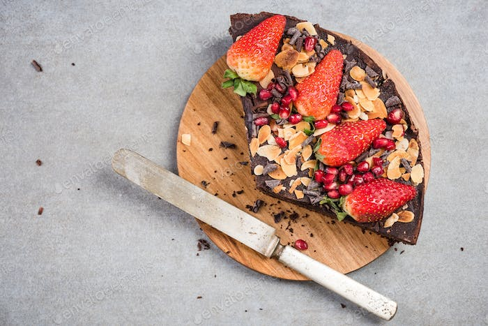 Healthy cake with fruits and sweet potato