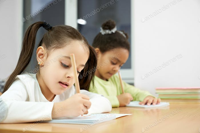 Schoolgirls writing in copybook at lesson in classroom