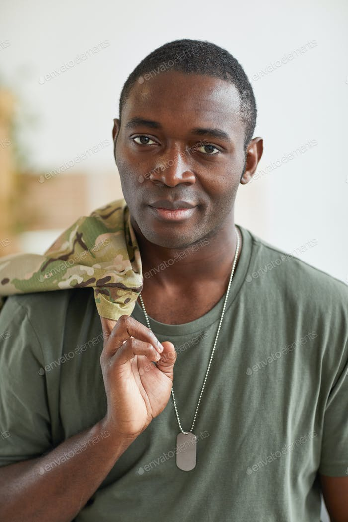 African soldier with badge