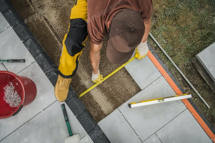Small Architecture Worker Paving Residential Patio Area