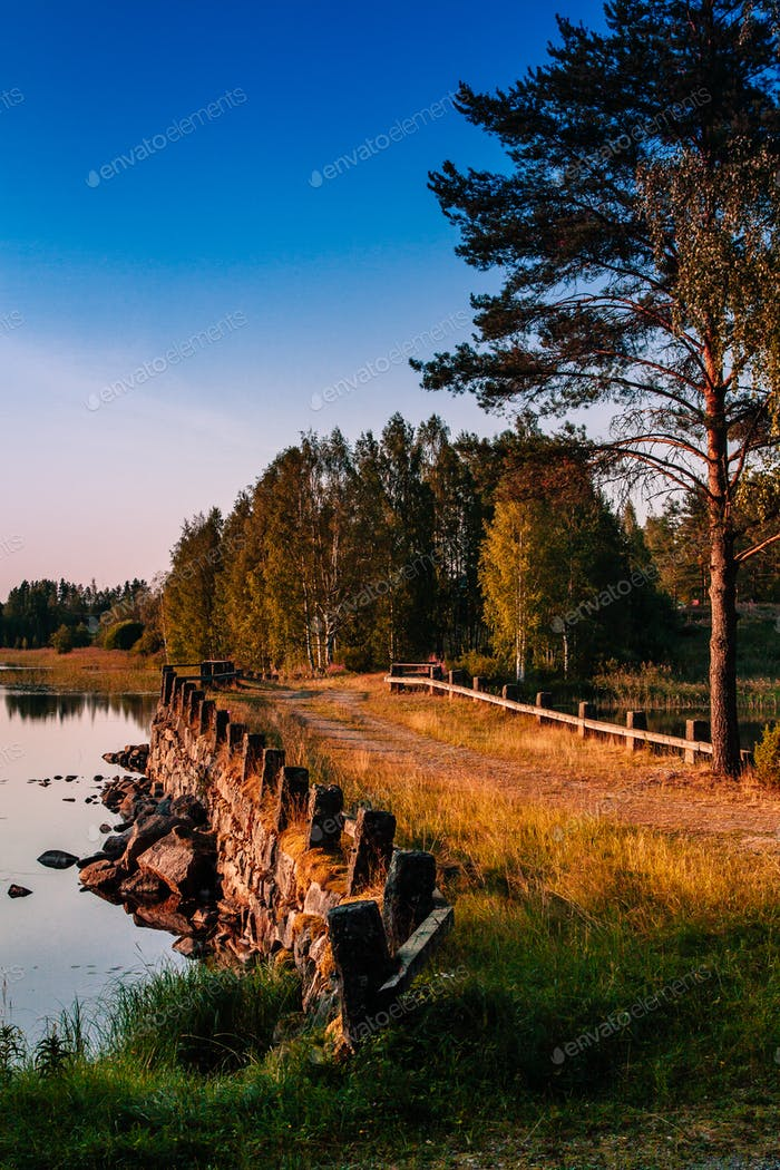 Old stone bridge in summer Finland