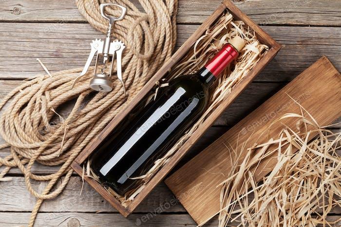 Red wine bottle in box