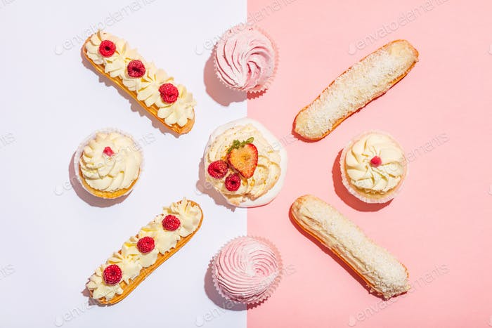 Bunch of sweet cakes in a pastel geometrical composition.