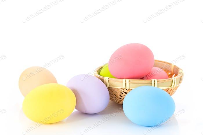 Easter eggs in basket on white-2