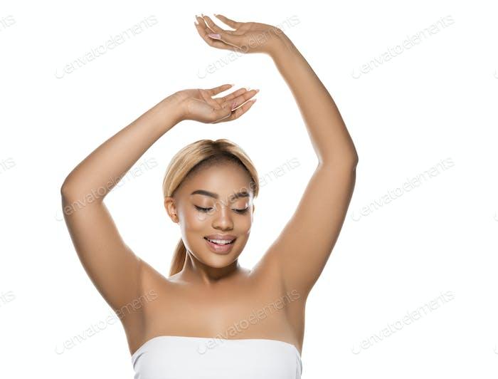 Woman beauty afro american female beautiful skincare hand up armpit