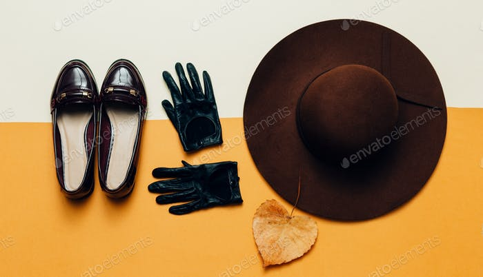 Fall accessories. Fashion Shoes, gloves, hat. Fashion Vintage St