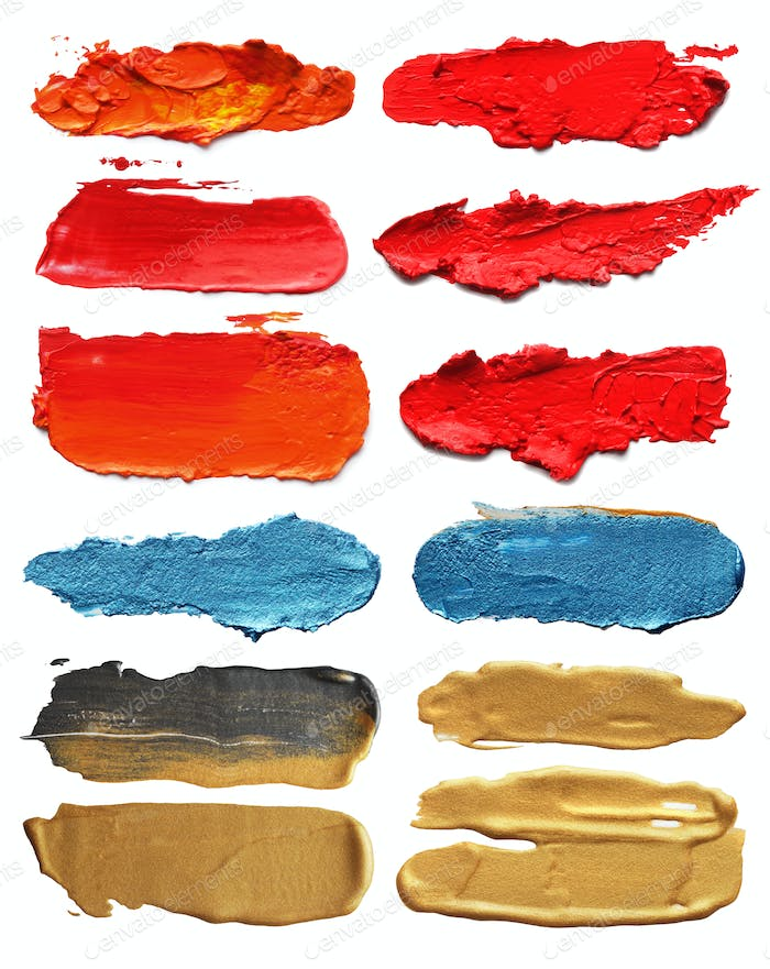 Collection of abstract acrylic brush strokes.