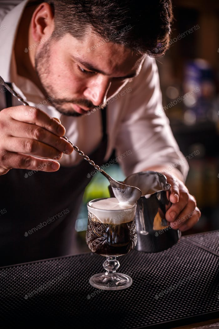 Bartender decorated alcoholic coffee
