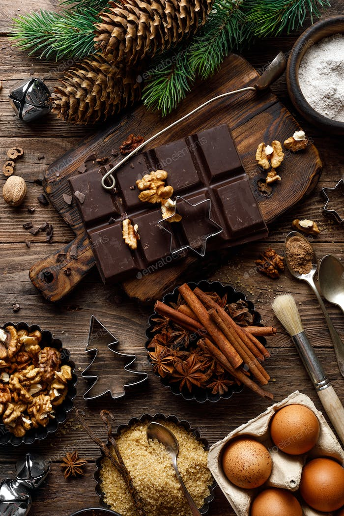 Christmas, New Year, Xmas or Noel culinary food background