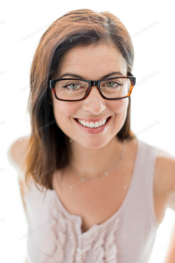 confident woman  wearing stylish glasses