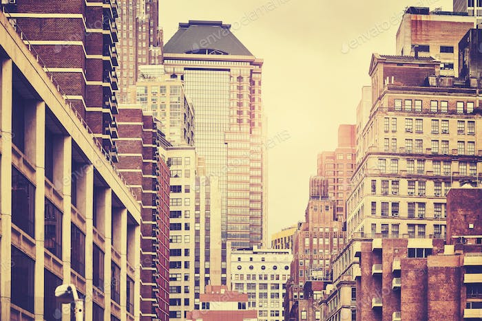 Retro toned picture of Manhattan buildings, NYC.