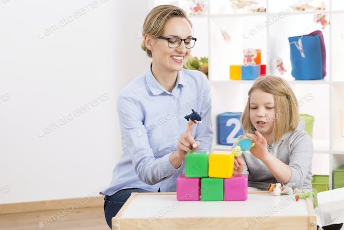 Girl visiting psychologist