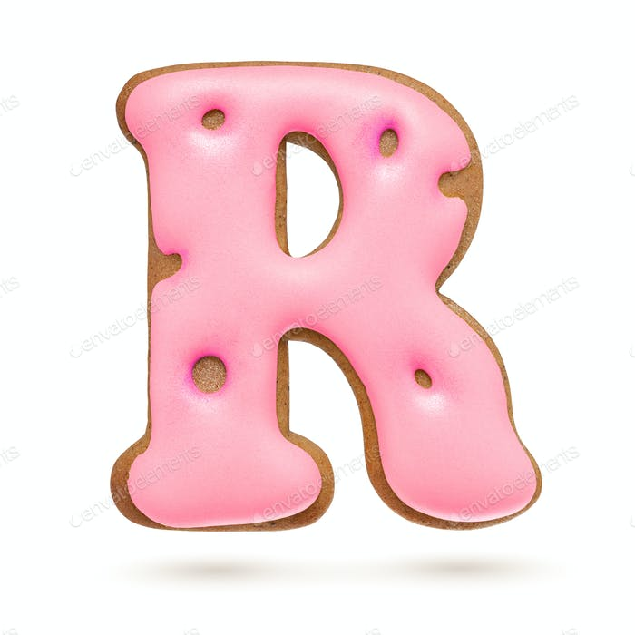Capital letter R. Pink gingerbread biscuit isolated on white.