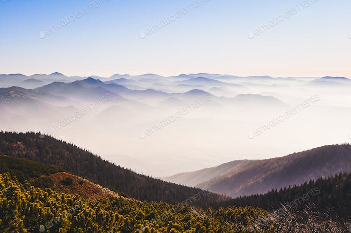 Landscape view of autumn misty mountains, Slovakia