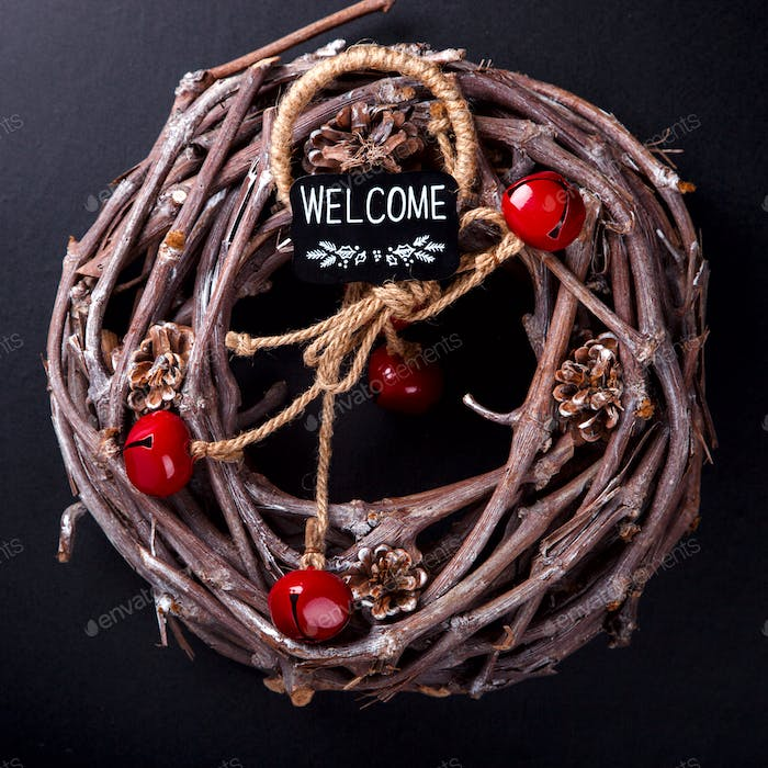 Christmas Wood Wreath with Natural Twigs