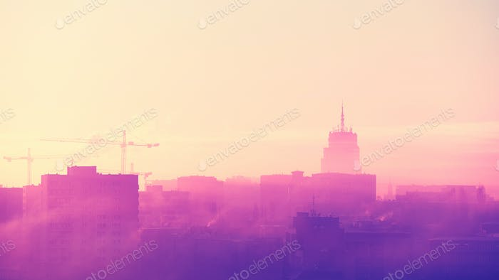 Misty sunrise over Szczecin City, Poland.