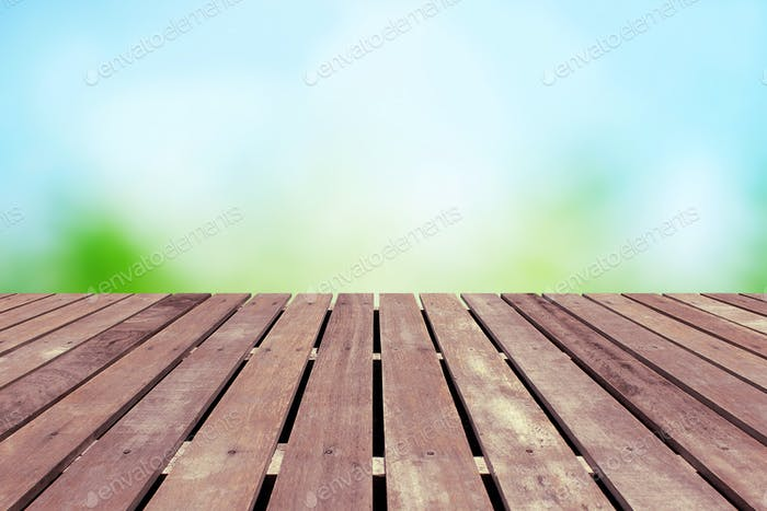Spring background with wooden floor
