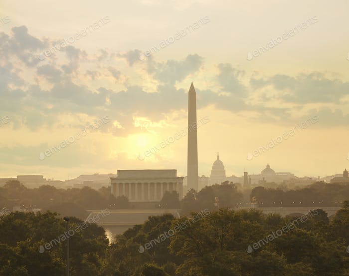 Washington DC Skyline with Morning Sun and Clouds