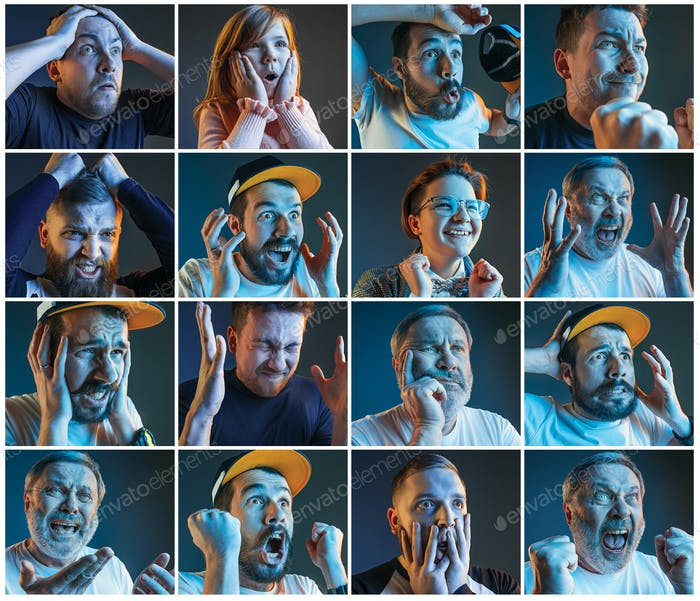Collage about emotions of football fans watching soccer on tv
