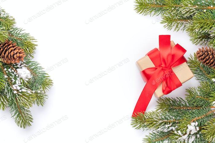 Christmas card with fir tree and gift box