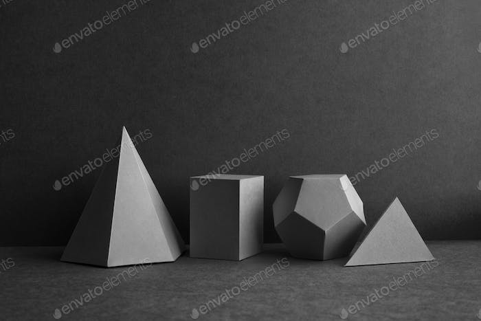 Abstract geometrical figures still life composition.