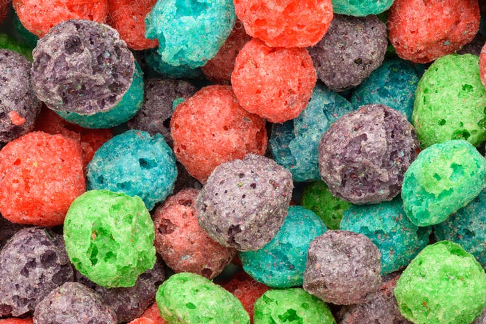 Cereal background. Colorful breakfast food