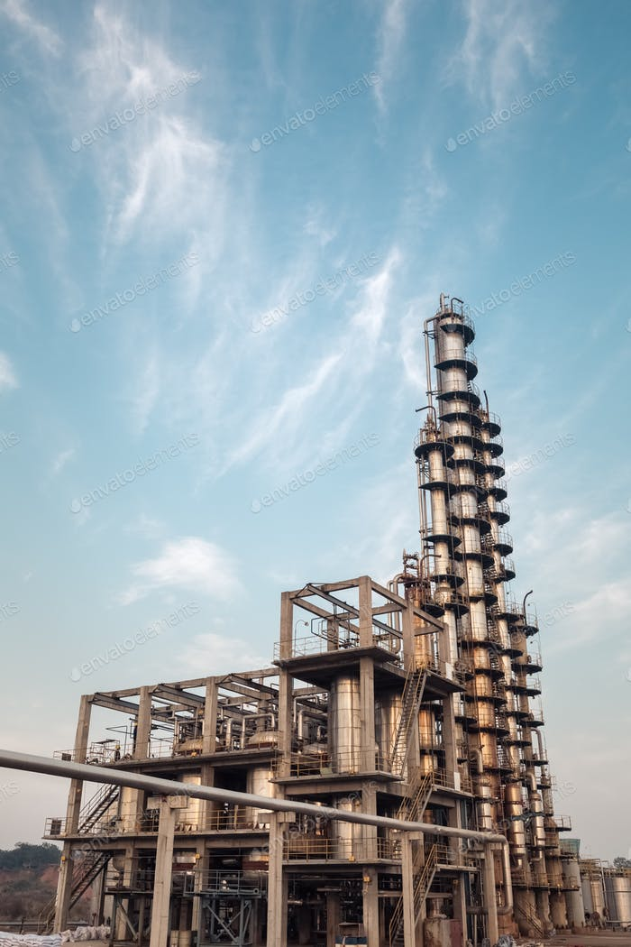 chemical plant against a blue sky
