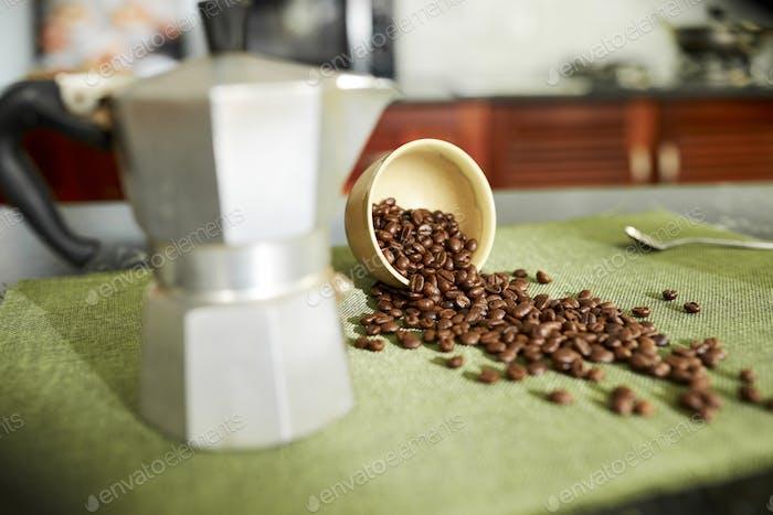 Coffee grains on table