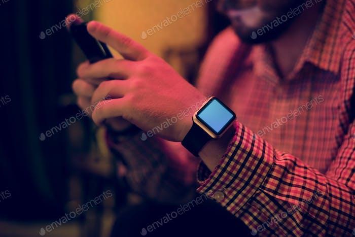 Closeup of digital watch on man wrist