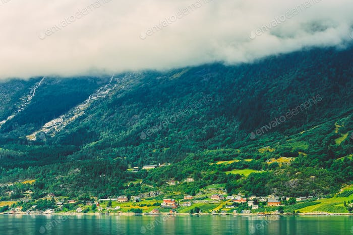 Scandinavian Village On Shore Of Hardangerfjord In Norway.