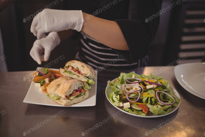 Midsection of female chef with fresh burgers and salad in plate on counter
