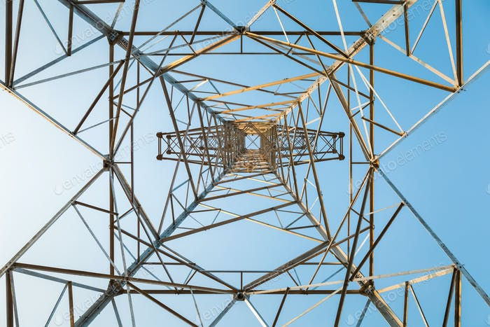 power transmission tower closeup