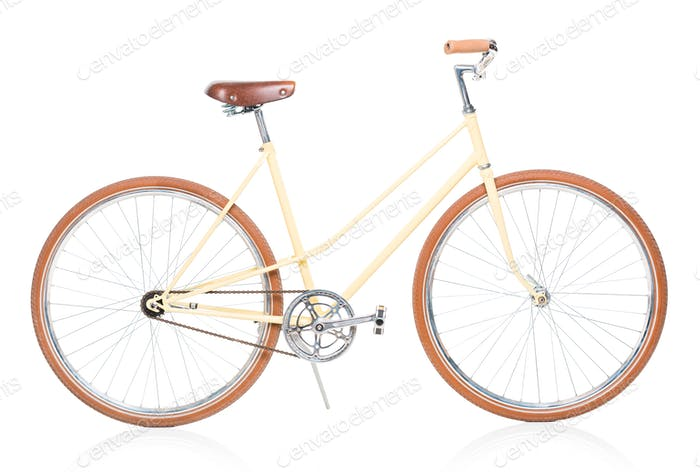 Stylish brown bicycle isolated on white