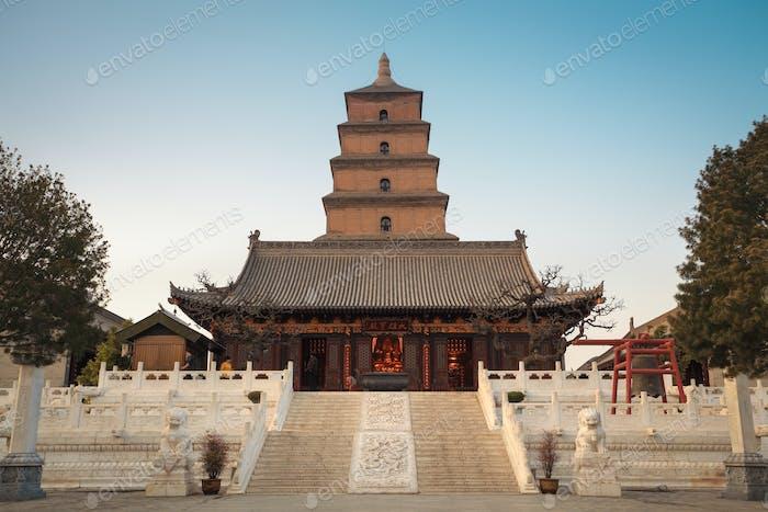 giant wild goose pagoda at dusk