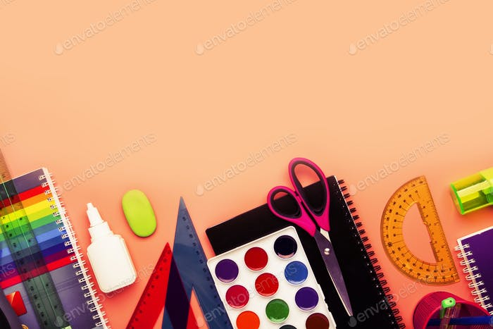 Back to school background with space for text, notebooks, pens, pencils, other stationery