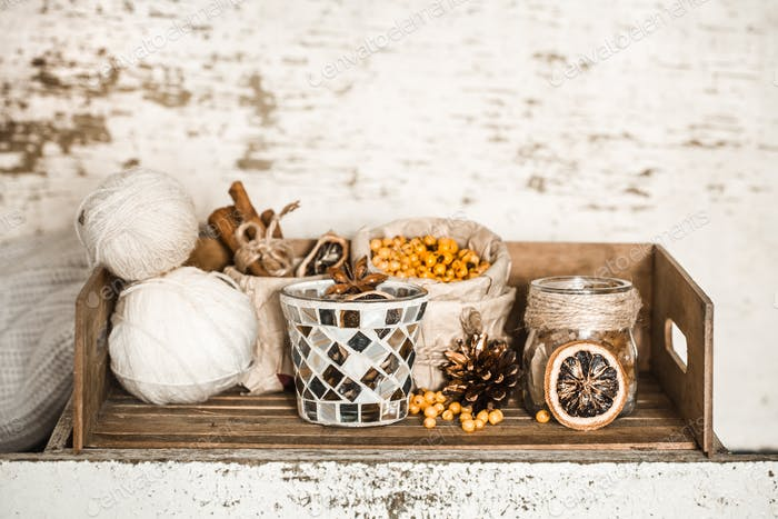 cozy home background with kitchenware