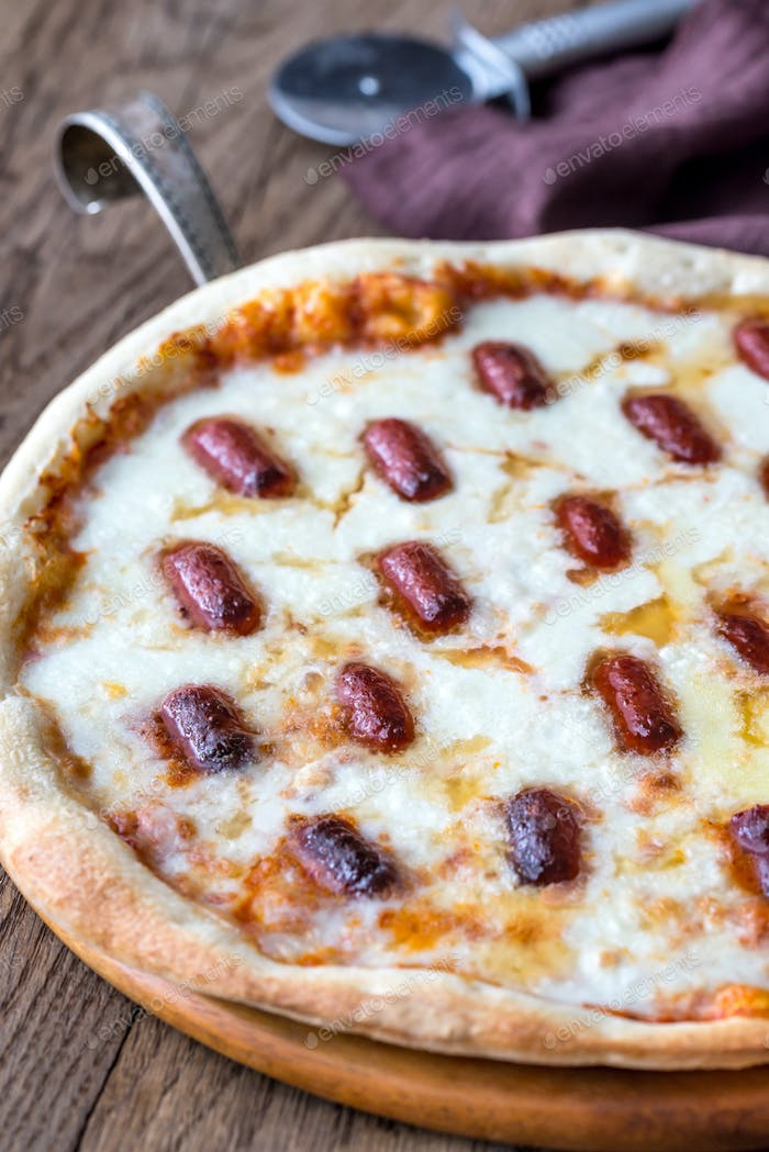 Pizza with mozzarella and salami