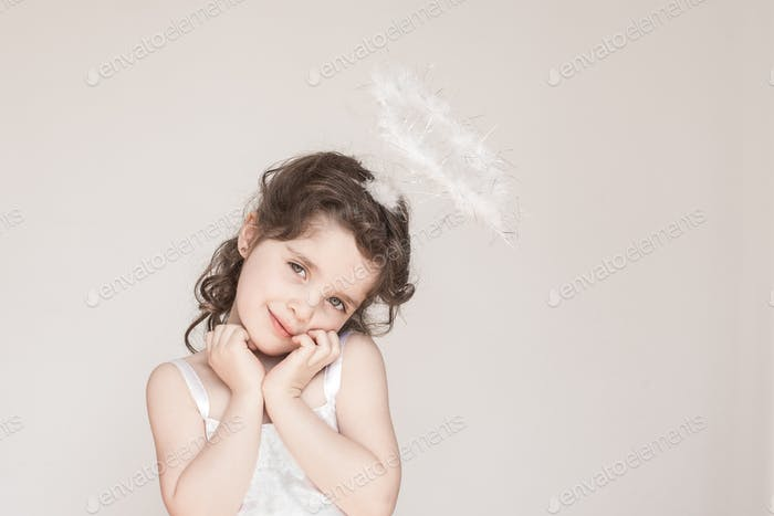 Little Girl Dressed As An Angel