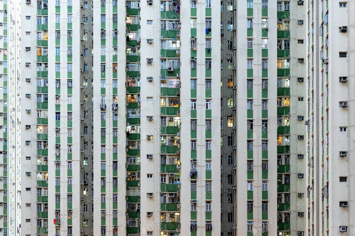 High-rise building with many units in Hong Kong