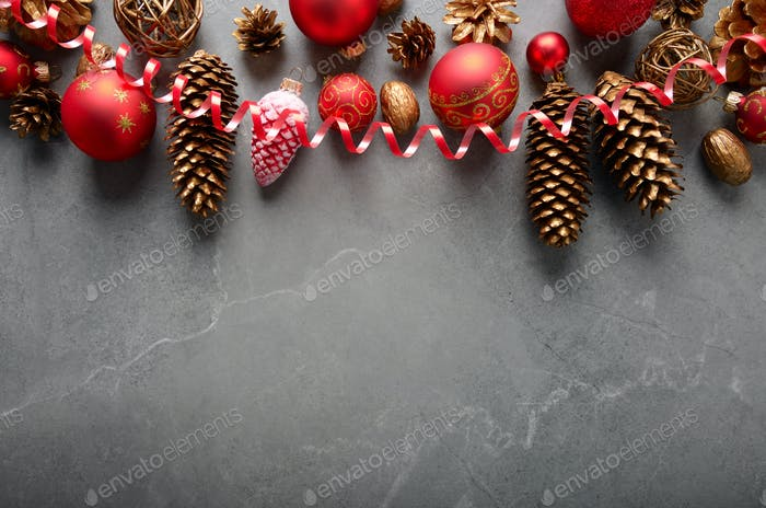 Flat lay view at Christmas decorations of gold red and yellow co