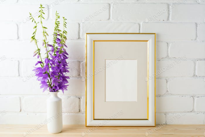 Frame mockup with bluebells bouquet