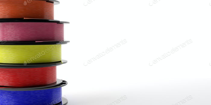 Filaments for 3D printing.  ABS wire plastic for 3d printer, variety of colors. 3d illustration