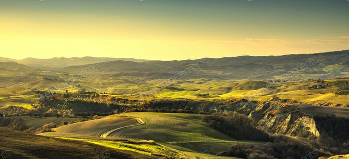 Volterra panorama, rolling hills and green fields. Tuscany, Ital