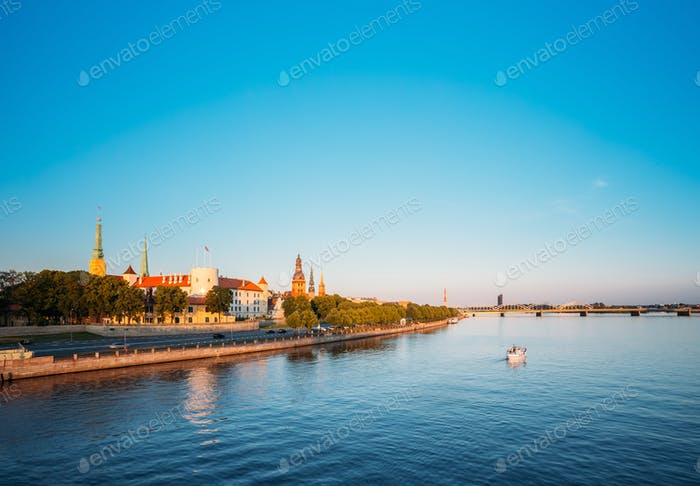 View To Promenad Of Daugava, In Riga, Latvia.  Ab Dambis. Travel