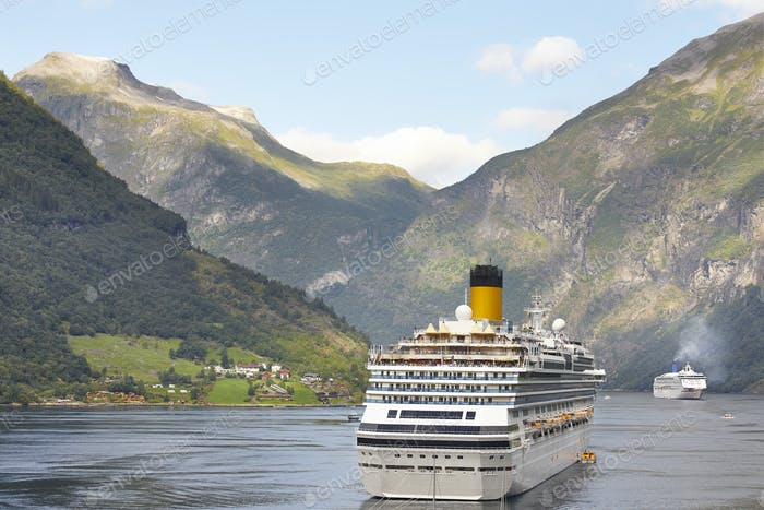 Norwegian fjord landscape. Cruise travel. Visit Norway. Tourism