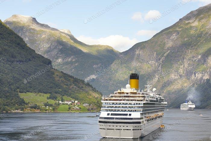 Thumbnail for Norwegian fjord landscape. Cruise travel. Visit Norway. Tourism