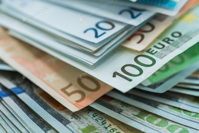 Euro and USA dollar money banknotes background
