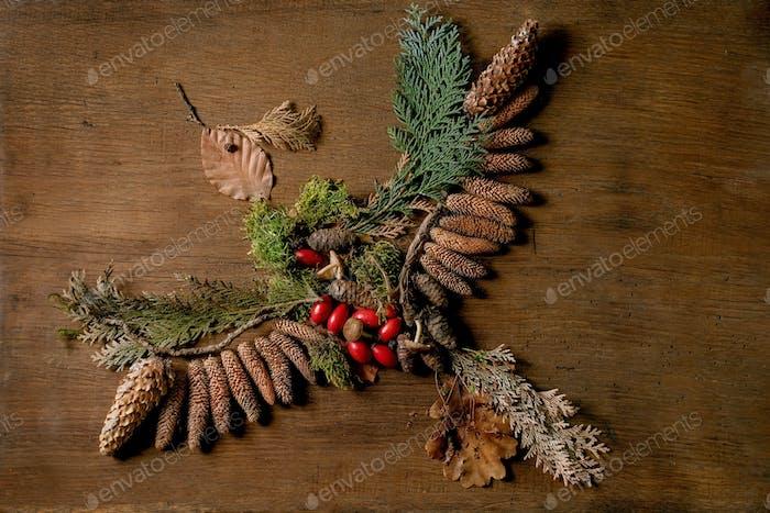 Fairy tale ambiance magic autumnal bird shape