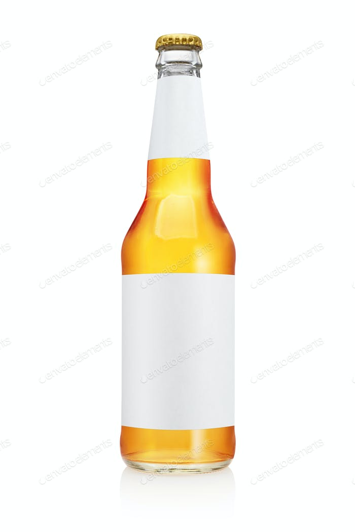 Transparent yellow beer bottle isolated on white background.