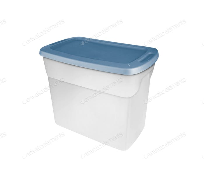 Empty food plastic container with green lid isolated on white
